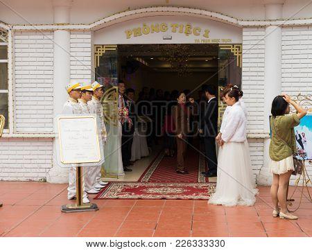 Hanoi, Vietnam - Mar 15, 2015: Exterior Facade View Of Vietnamese Wedding Reception Area. Mostly Urb