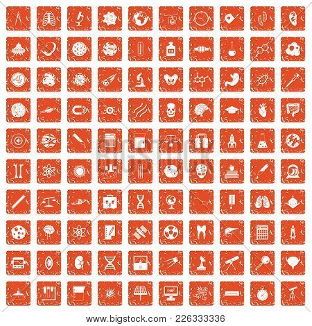 100 Science Icons Set In Grunge Style Orange Color Isolated On White Background Vector Illustration