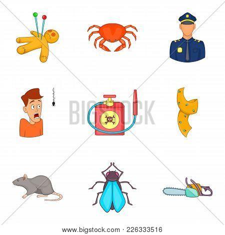 Phobias Icons Set. Cartoon Set Of 9 Phobias Vector Icons For Web Isolated On White Background