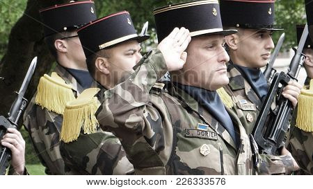 Strasbourg, France - May 8, 2017: Military Salute At Ceremony To Mark Western Allies World War Two V
