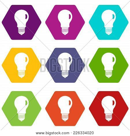 Lamp Icon Set Many Color Hexahedron Isolated On White Vector Illustration