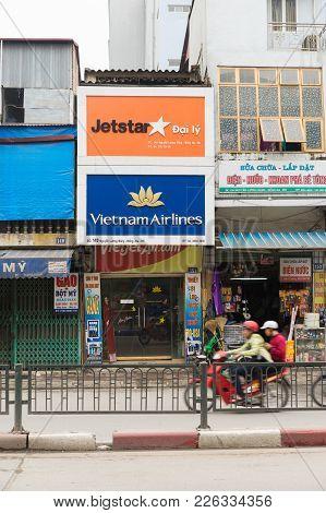 Hanoi, Vietnam - Mar 15, 2015: Exterior View Of Vietnamese Airlines Ticket Agency In Nguyen Luong Ba