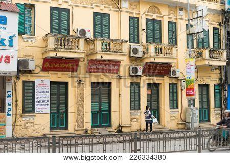 Hanoi, Vietnam - Mar 15, 2015: Exterior Facade View Of Public Govement Administrative Building Of Do