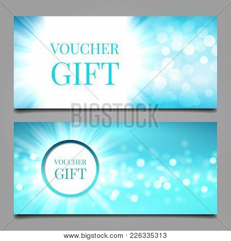 Vector Illustration With Two Bokeh Voucher Templates In Blue Colord