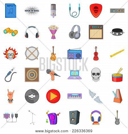 Melodic Icons Set. Cartoon Set Of 36 Melodic Vector Icons For Web Isolated On White Background