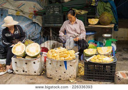 Quang Ninh, Vietnam - Mar 22, 2015: Jackfruit Stall At Ha Long Market, Ha Long City
