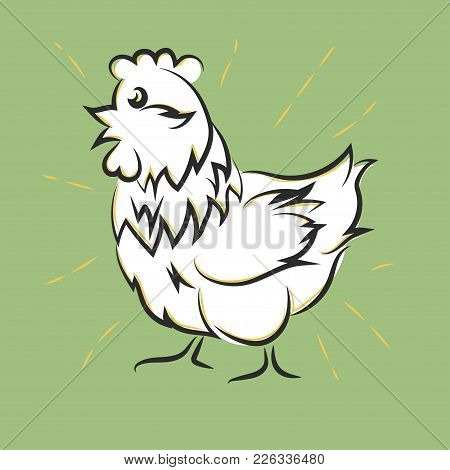 Chicken Hand Drawn, Happy White Hen. Meat And Eggs Produce, Farm Badge Element. Cartoon Vector