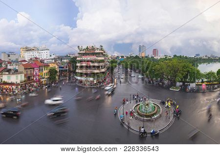 Hanoi, Vietnam - Aug 28, 2015: Aerial Panorama View Of Hanoi Cityscape At Twilight At Intersection L