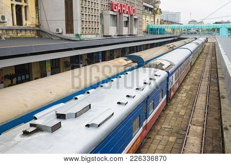 Hanoi, Vietnam - Aug 30, 2015: Railway Passenger Cars At Hanoi Station. Vietnam Railways Is The Stat
