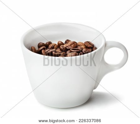 White Cup With Coffee Beans Isolated On White Background