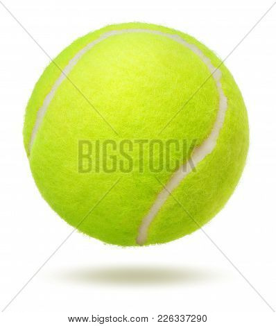 Green Tennis Ball Over The White Background