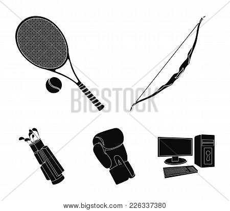 Bow For Shooting At The Target, Racket With A Ball For Playing In A Tennis Court, A Glove For Boxing