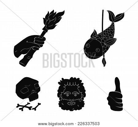 Primitive, Fish, Spear, Torch .stone Age Set Collection Icons In Black Style Vector Symbol Stock Ill