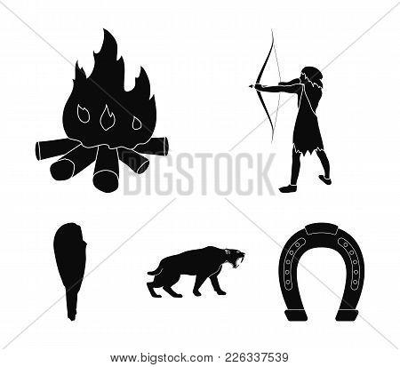 Man, Hunter, Onion, Bonfire .stone Age Set Collection Icons In Black Style Vector Symbol Stock Illus