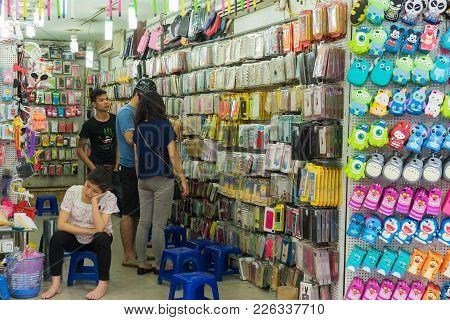 Hanoi, Vietnam - Apr 5, 2015: Cellphone Case Store In Hang Can Street, Hanoi
