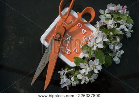 Huge Orange Open Scissors On The Dials Of Orange Square Clock With White Frame, On The Right Branch
