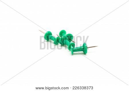 Drawing Pins. Concrete Buttons-carnations Green Isolated On White Background For Any Purpose