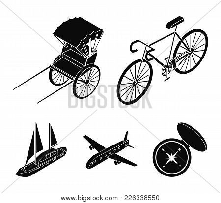 Bicycle, Rickshaw, Plane, Yacht.transport Set Collection Icons In Black Style Vector Symbol Stock Il