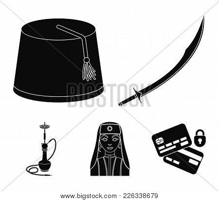 Turkish fez, yatogan, turkish, hookah.Turkey set collection icons in black style vector symbol stock illustration . poster