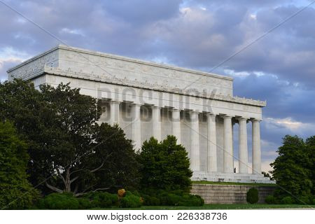 Lincoln Memorial in a dramatic cloudy sky - Washington DC United States