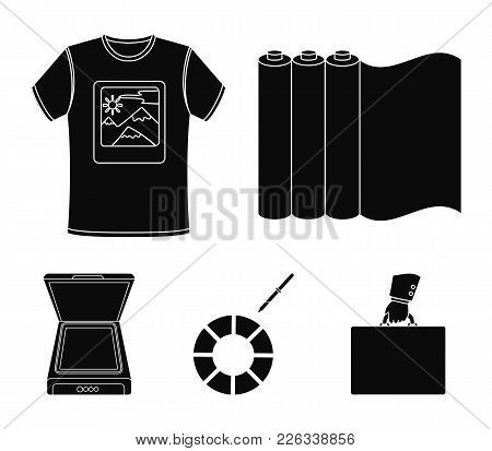 Scanner, Color Palette And Other Equipment. Typography Set Collection Icons In Black Style Vector Sy