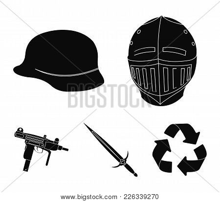 A Helmet Of A Medieval Knight, A Soldier's Helmet, A Sword, An Automaton Uzi. Weapons Set Collection