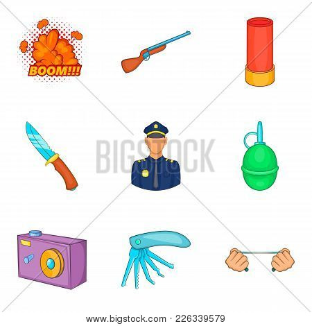 Home Guard Icons Set. Cartoon Set Of 9 Home Guard Vector Icons For Web Isolated On White Background