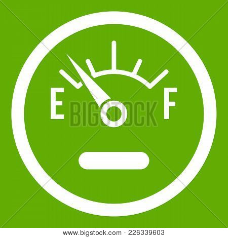 Fuel Sensor Icon White Isolated On Green Background. Vector Illustration