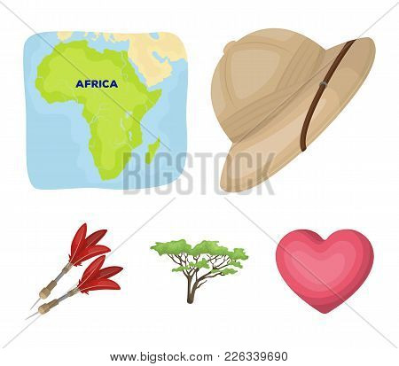 Cork Hat, Darts, Savannah Tree, Territory Map. African Safari Set Collection Icons In Cartoon Style