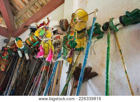 Hanoi, Vietnam - Sep 20, 2015: Instruments For Controlling Puppet Behind Stage Of Vietnamese Water P
