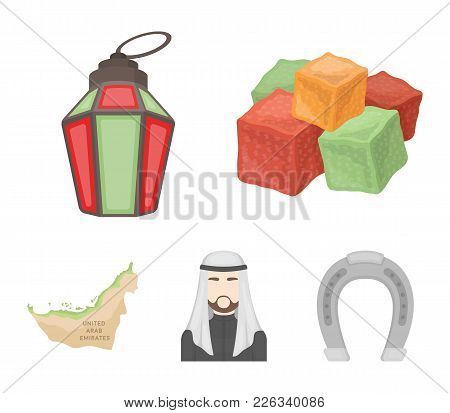 Eastern Sweets, Ramadan Lamp, Arab Sheikh, Territory.arab Emirates Set Collection Icons In Cartoon S