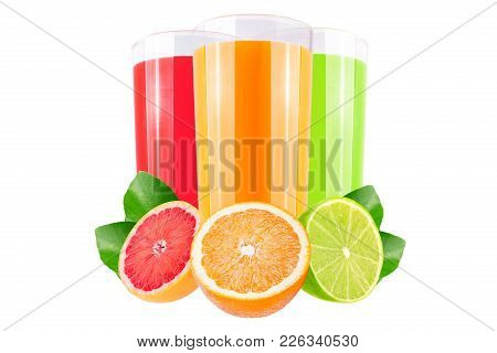 Isolated Juice. Three Glasses With Grapefruit, Orange And Lime Juice And Cut Fruits Isolated On Whit