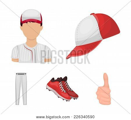 Baseball Cap, Player And Other Accessories. Baseball Set Collection Icons In Cartoon Style Vector Sy