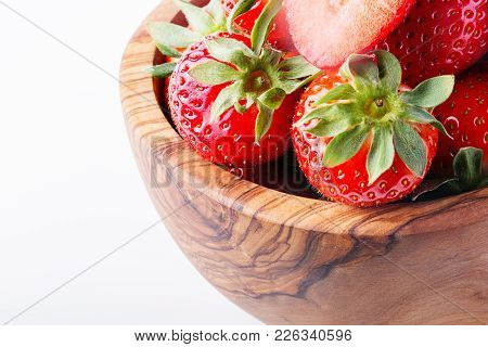 Bowl With Strawberries Isolated On White Background. Ripe Strawberries Close-up.