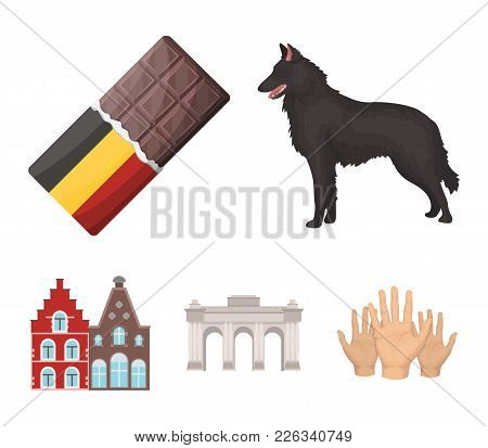 Chocolate, Cathedral And Other Symbols Of The Country.belgium Set Collection Icons In Cartoon Style