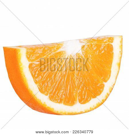 Isolated Citrius. Isolated Slice Orange On White Background With  Clipping Path As Packaging Design