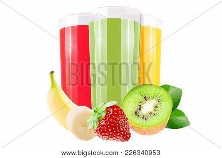Isolated Juice. Three Glasses With Straberry,banana And Kiwi Juice And Cut Fruits Isolated On White