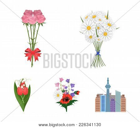 A Bouquet Of Fresh Flowers Cartoon Icons In Set Collection For Design. Various Bouquets Vector Symbo
