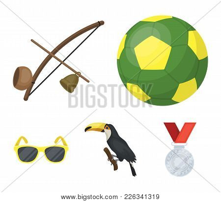 Brazil, Country, Ball, Football . Brazil Country Set Collection Icons In Cartoon Style Vector Symbol