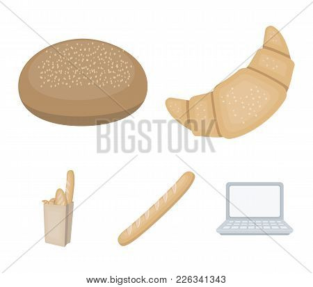 Rye Round Bread, A Croissant, A French Loaf, A Bag Of Bread.bread Set Collection Icons In Cartoon St