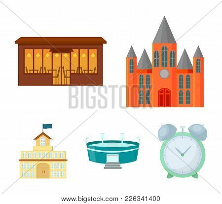 House Of Government, Stadium, Cafe, Church.building Set Collection Icons In Cartoon Style Vector Sym