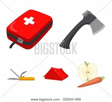 Ax, First-aid Kit, Tourist Tent, Folding Knife. Camping Set Collection Icons In Cartoon Style Vector