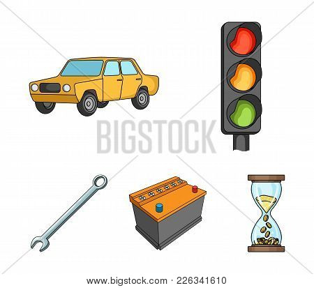 Traffic Light, Old Car, Battery, Wrench, Car Set Collection Icons In Cartoon Style Vector Symbol Sto
