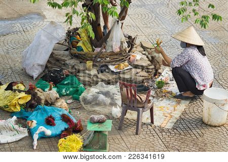 Hanoi, Vietnam - Oct 25, 2015: Vietnamese Woman Kills Chicken On Sidewalk Next To Long Bien Market.