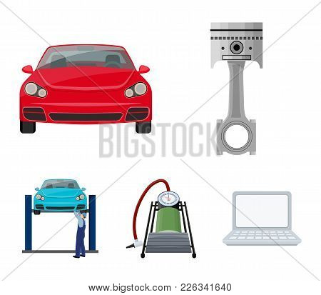 Car On Lift, Piston And Pump Cartoon Icons In Set Collection For Design.car Maintenance Station Vect