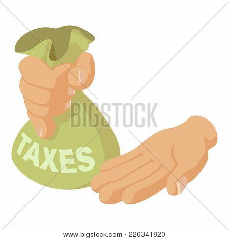 Hand Of Tax Icon. Isometric Illustration Of Hand Of Tax Vector Icon For Web