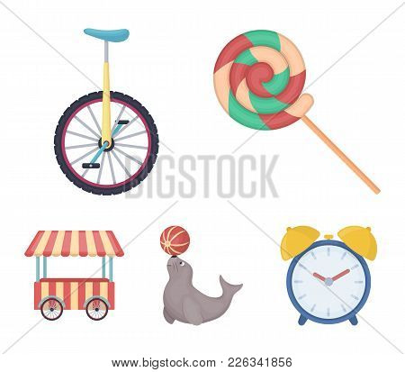 Lollipop, Trained Seal, Snack On Wheels, Monocycle.circus Set Collection Icons In Cartoon Style Vect