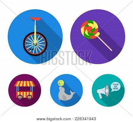 Lollipop, Trained Seal, Snack On Wheels, Monocycle.circus Set Collection Icons In Flat Style Vector