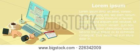 Paying Money Banner. Isometric Illustration Of Paying Money Vector Banner For Web