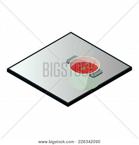 Induction Cooker Icon. Isometric Illustration Of Induction Cooker Vector Icon For Web